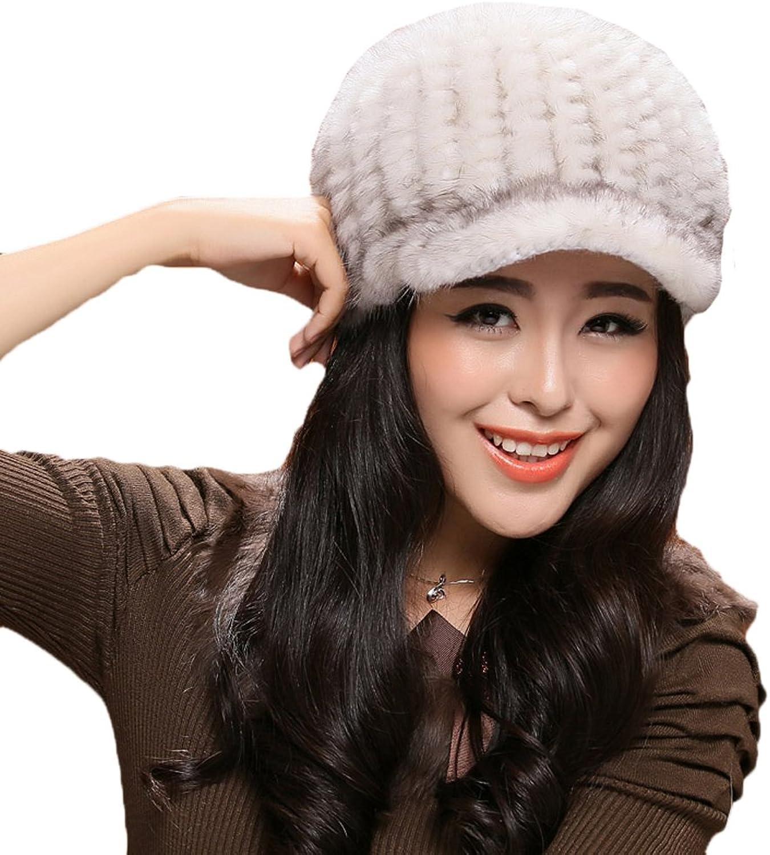 MINGXINTECH womens genuine marten fur weave peak cap weave knit warm winter skinning
