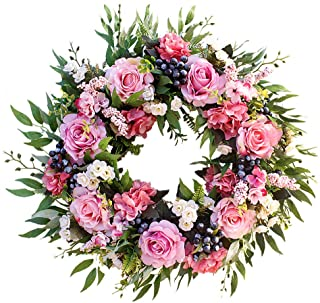 Agirlgle Spring Wreath Artificial Peony Flower Wreath for Front Door 22 inch Springtime Faux Flower and Artificial Flower ...