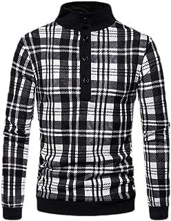 Men Long Sleeve Polo Shirts Slim Fit Business Plaid Polo T Shirt