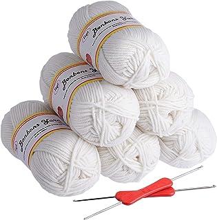 Fuyit Laine à Tricoter en Acrylique 300g (6x50g) avec 2 Crochet Gratuit pour Tricot Idéal pour Tout Projet de Tricot et de...