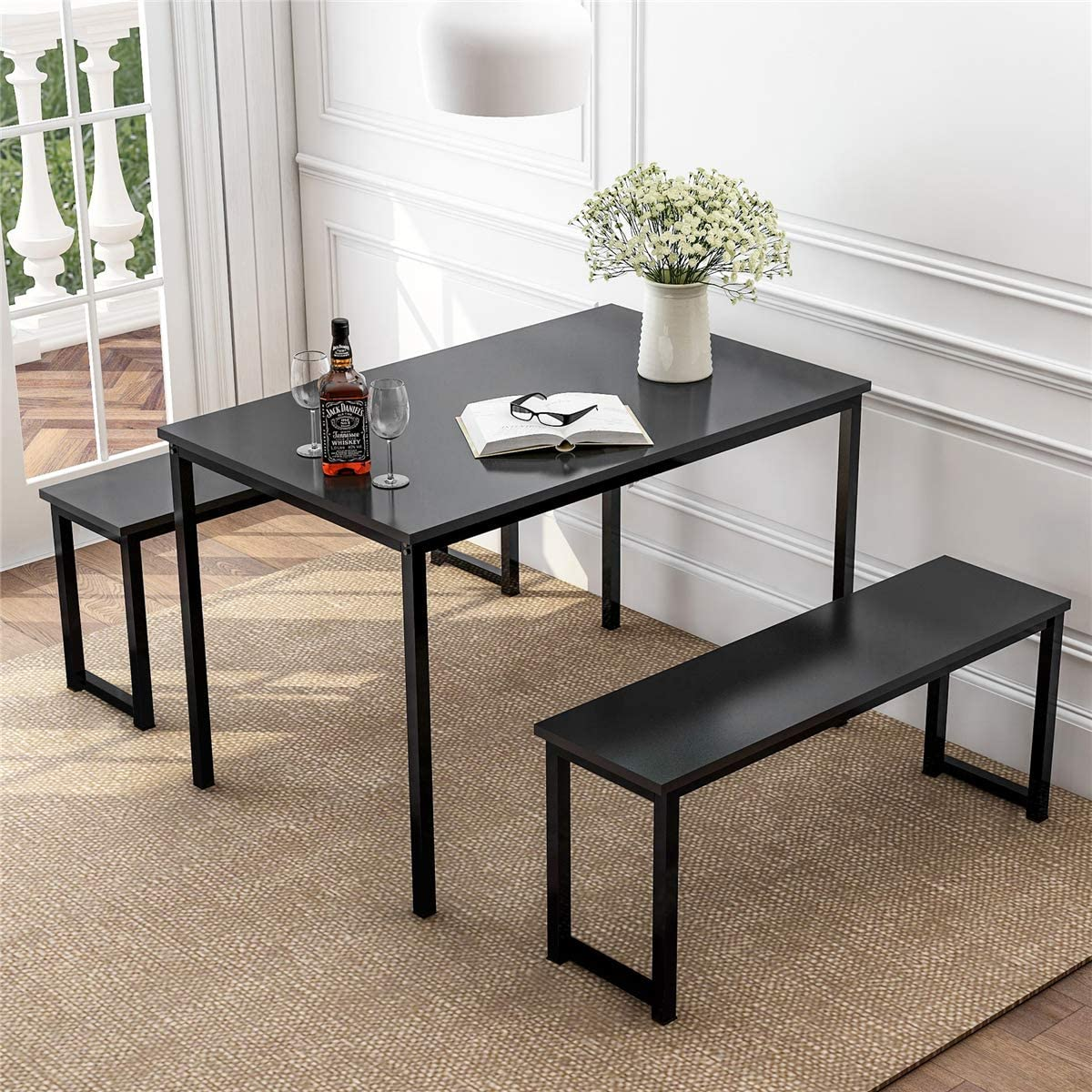 DANGRUUT Modern Table Max 64% OFF Set with favorite Bench Style Simple 3 Piece Kitch