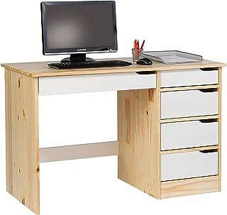 IDIMEX Bureau Hugo avec Rangement 5 tiroirs Style scandinave en pin Massif Vernis Naturel et lasuré Blanc