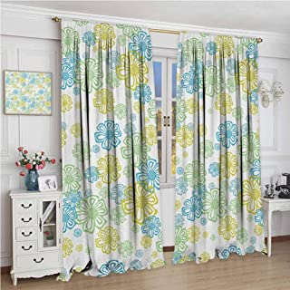 Flower 99% Blackout Curtains Ornate Floral Endless Pattern with Flowers Flourish Modern Doodle Style for Bedroom Kindergarten Living Room W96 x L108 Inch Blue Green Apple Green