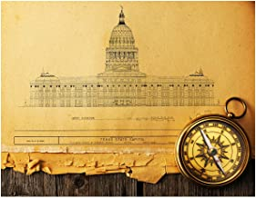 Texas Capital in Austin Blueprint Restored with Compass Fine Art Print - 11x14 Unframed Photo Wall Art - Gift for those passionate about Texas - Dorm Room Game Room Bedroom Decor - Gift Under $20