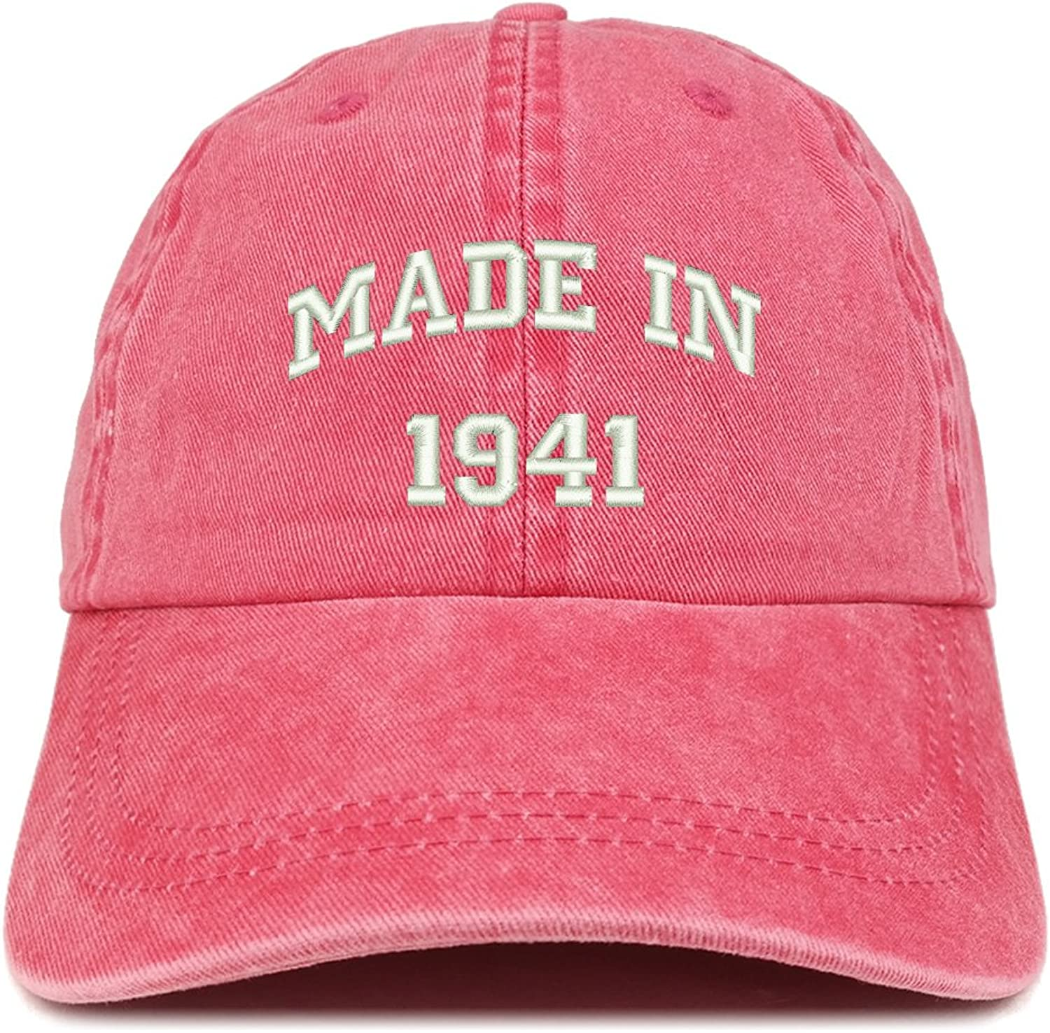 Trendy Apparel Shop Made in 1941 Text Embroidered 78th Birthday Washed Cap