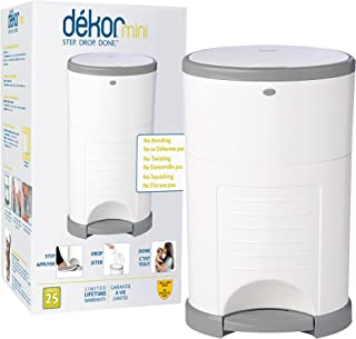 Dekor Mini Hands-Free Diaper Pail | White | Easiest to Use | Just Step – Drop – Done | Doesn't Absorb Odors | 20 Second Ba...