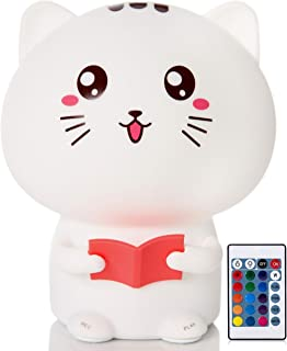 CAT LED Night Lights for Kids - Soft, Soothing & Safe Night Light with Touch Sensor and Remote Control - Portable and Rechargeable Bedroom Lamp - 9-Color Baby Lamp with Adjustable Brightness Function