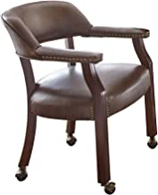 Steve Silver Company Tournament Captains Chair with Casters, Brown