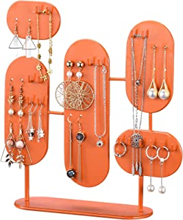 منظم المجوهرات حامل معدن تخزين الرف، 3 لوحة مجوهرات حامل للقلائد والأقراط سوار خاتم برتقالي ساطع