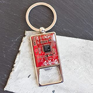 Red Bottle Opener Keychain, recycled circuit board