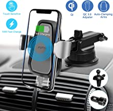 Pufya Wireless Car Charger Mount Air Vent Windshield Dashboard Phone Holder Automatic Open and Clamp One-Hand Operation for Safe Driving Compatible with All Qi Enabled Phone