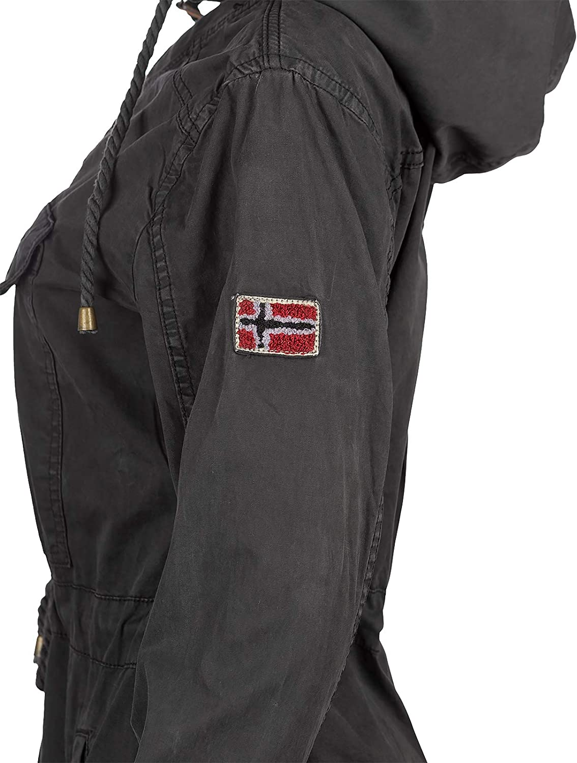 Geographical Norway Damen Windbreaker Regenjacke Schwarz - 01