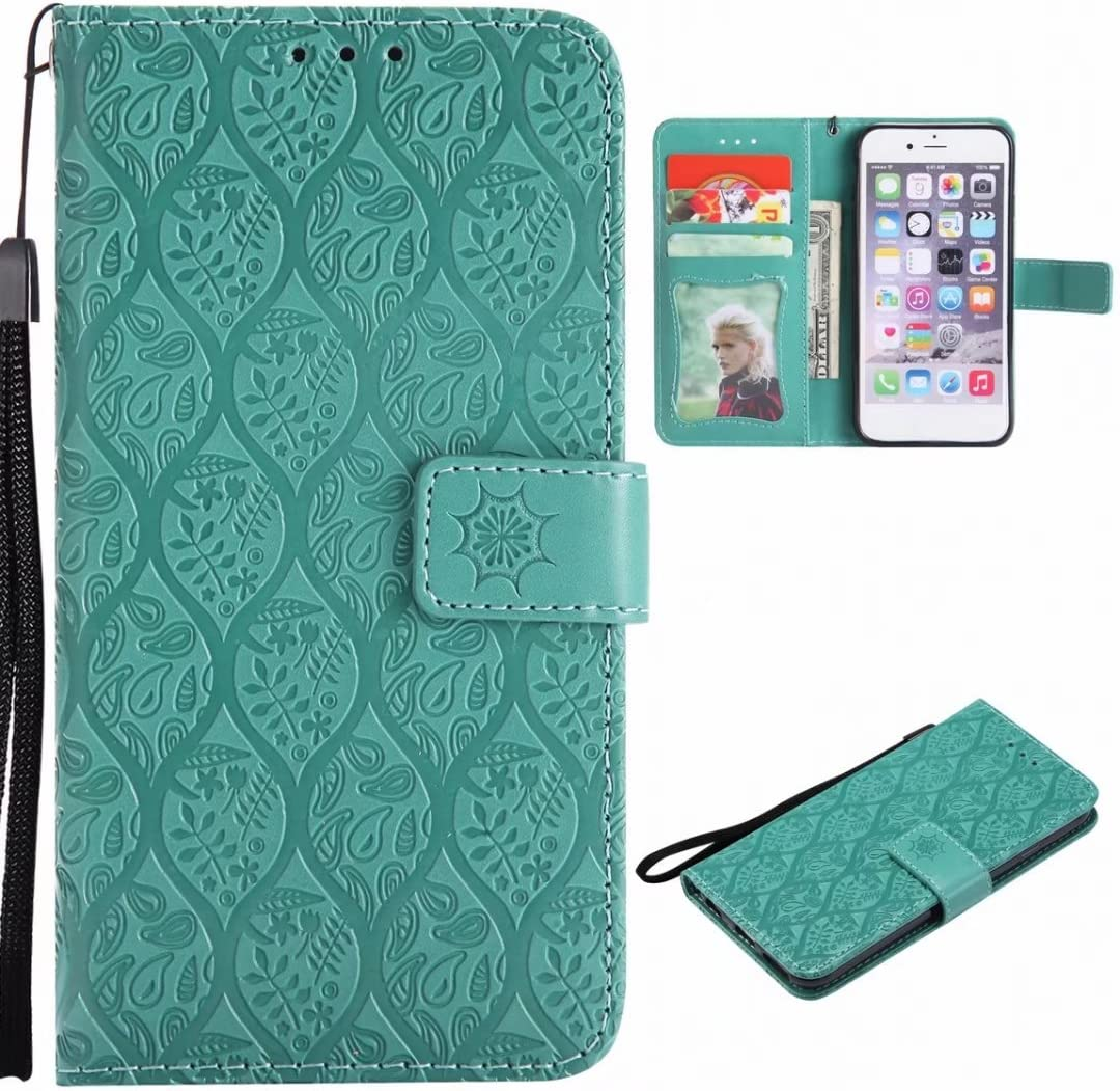 Rattan Fancy Design Premium Leather Flip Cover Wallet Bumper Slim Lightweight Protective Shell Pouch with Media Kickstand Card Slots H870 Case Yiizy LG G6 Green