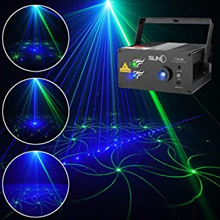 SUNY Laser Lighting for Party DJ Show 18 Patterns Green Blue Laser Lights Blue LED Light Music Laser Projector Sound Activated Remote Control Stage Lighting Dance House Show Decoration Xmas Holiday