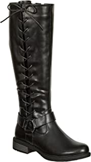 Pierre Dumas Women's Tall Side Lace Harness Riding Boots with Inside Zipper Barcelona-2(89828)