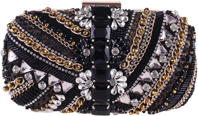 Lightlila Perlen Abend Party Tasche Diamant Clutch Handtasche Handtasche Schultertasche (Farbe   schwarz) B07PM44VFS  Preisrotuktion