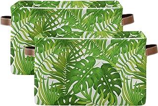 Luckyeah Lot de 2 paniers de rangement pliables en toile avec poignées pour chambre d'enfant Motif feuilles de palmier tro...