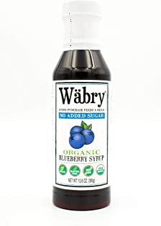 Wäbry Organic Syrup (Blueberry, No Sugar Added) 13.8 oz BPA-Free Plastic, Sweetened with Erythritol/Stevia