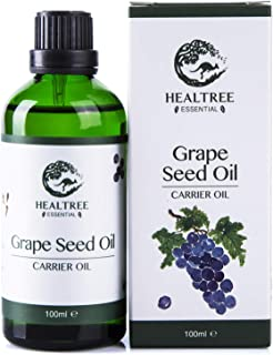 HEALTREE Grape Seed Carrier Oil 100ml(100% Pure Natural Cold Pressed), Australian Owned & Made | Perfect for Skincare, Hair Care, Body Massage or mix with Essential oils | GC Analysis Attached