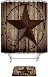 Vandarllin Western Texas Star Bathroom Set Shower Curtain with Bath Mats Rugs