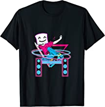 dancing dj with goofy marshmallow face t shirt for clubbing