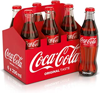 Coca-Cola Classic Carbonated Soft Drink, Glass Bottle - 290 ML (Pack of 6)