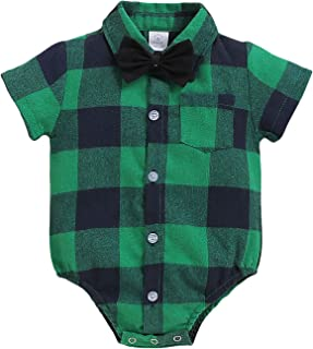ROMPERINBOX Infant Flannel Buffalo Plaid Baby Shirt Short Long Sleeve Button Down Cardigan Boy Girl Outfit Bodysuit
