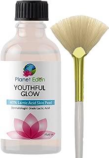 Planet Eden 40% Lactic Acid Skin Peel Kit and Fan Brush - Unbuffered Professional Grade