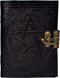 Handmade Black Pentagram Embossed Leather Journal Pentacle Book of Shadows Notebook Diary Appointment Organizer Daily Planner Office Diary Wicca Pagan 5 x 7 inches