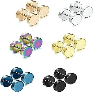 Aooaz 6 Pair(12Pcs) Stud Earrings Stainless Steel 3-14MM Earrings for Men Women Novelty