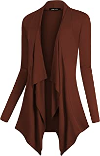 Urban CoCo Women's Open Front Long Sleeve Lightweight Cardigan Drape Hem