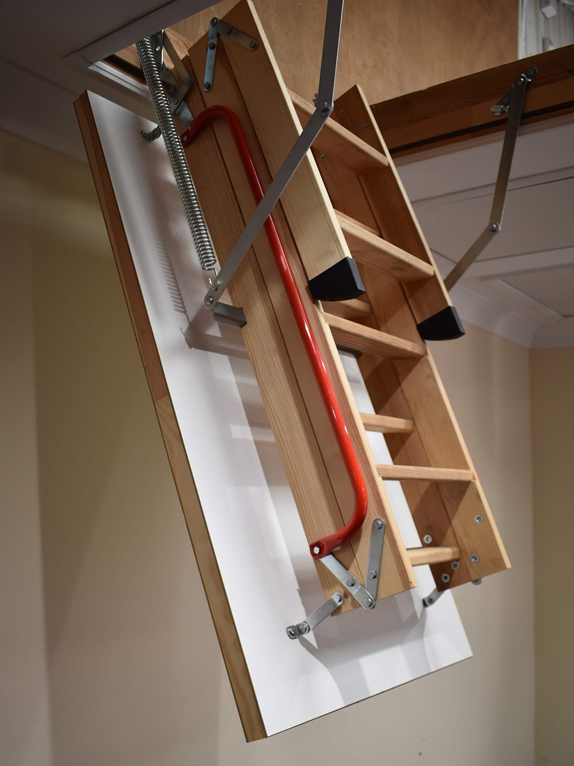 BPS Access Solutions - Escalera para desván con pasamano doble (madera de alerce, estructura: 1100 x 545 mm, distancia entre techo y suelo: hasta 2,8 m): Amazon.es: Bricolaje y herramientas
