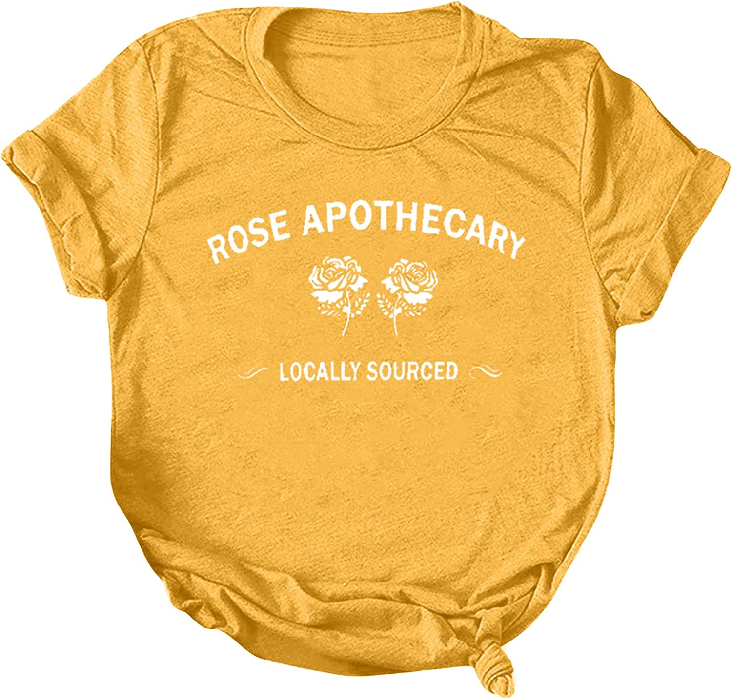 Womens Short Sleeve Tops, naioewe Shirts for Women Rose Apothecary Funny Letter Print O-Neck T-Shirt Blouse Tops Casual Graphic Tees
