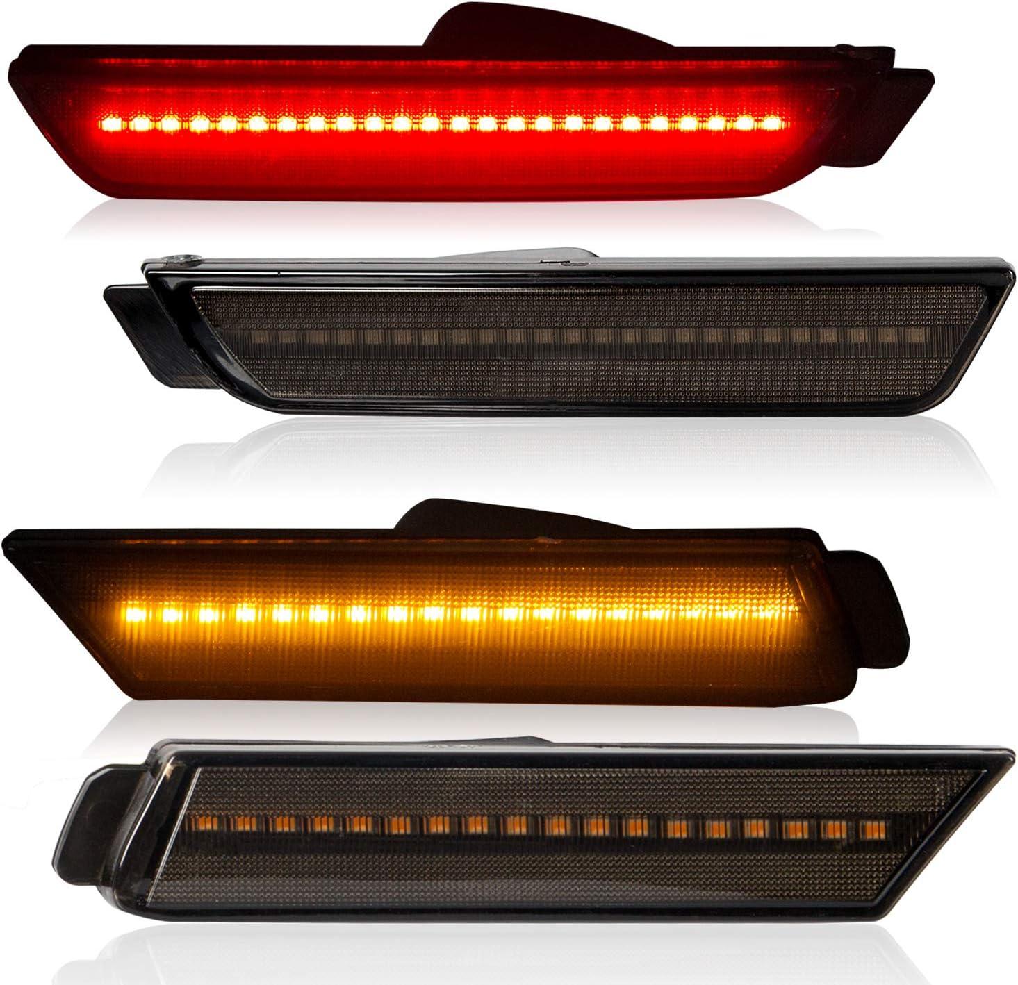 Front Rear Led Bumper Side Marker Lamp Light Nashville-Davidson Mall Lens Co Smoked Year-end gift 4Pcs