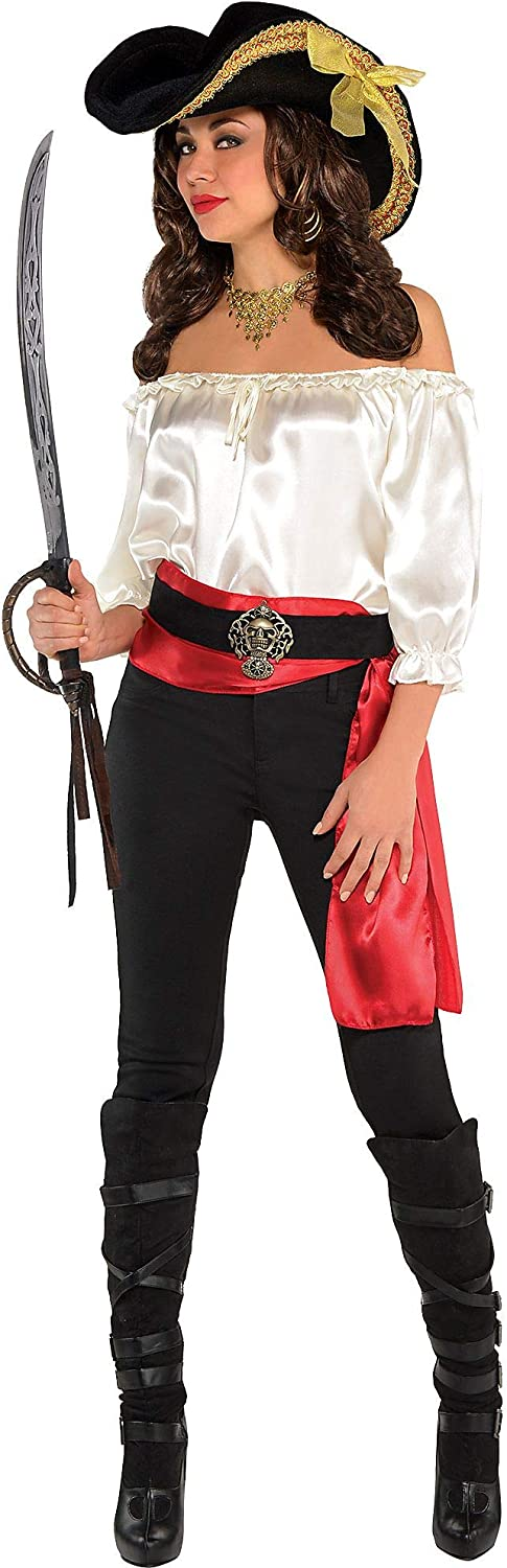 amscan Ivory Satin 100% quality warranty! Pirate Blouse Spasm price Standard White - Adult Small