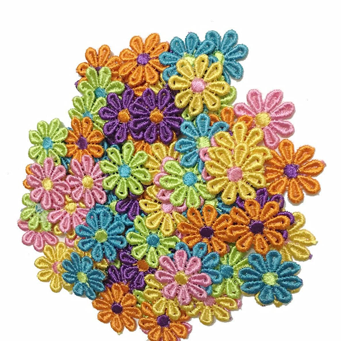 100pcs Colorful Daisy Flowers Embroidered Sew On Applique Floral Lace Patch Milk Fiber Sewing Trims Clothes Wedding Dress Craft DIY (COLORFUL)