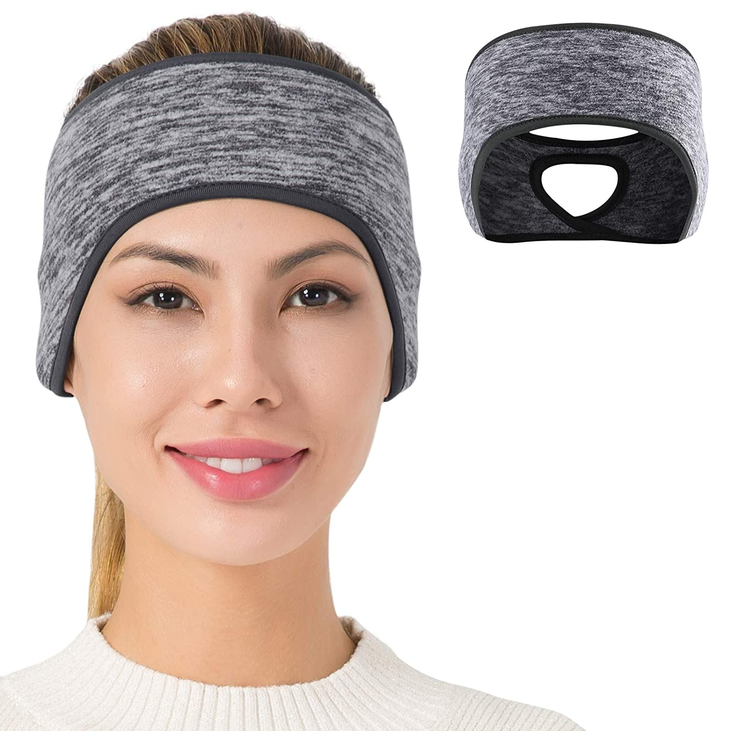 TALONITE Womens Ponytail Headband - Fleece Ear Warmer (1 Pack/ 2 Pack/ 3 Pack) - Perfect for Winter Outdoor Sports Running