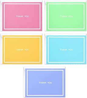 Hallmark Thank You Cards Assortment, Pastel Solids (50 Cards for Business, Weddings, Baby Showers, Bridal Showers, All Occasion)