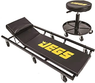 Best JEGS Creeper and Air Seat | Black with JEGS Logo | 350 LBS Creeper Capacity | 250 LBS Seat Capacity | Memory Foam Padding | Adjustable Height Air Seat Reviews
