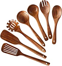 Fransande Keukengerei set van hout, lepel van hout, om te koken, set van spatel van natuurlijk teakhout, 7 stuks