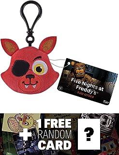 Five Nights at Freddy's Foxy: Funko x Mini-Head Plushy Keychain + 1 Free Video Games Themed Trading Card Bundle (091514)