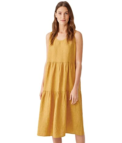 Eileen Fisher Scoop Neck Tiered Dress in Washed Organic Linen Delave
