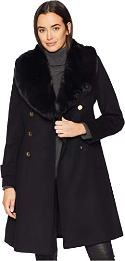 d095f17de93bd Dollhouse classic wool blend double breasted pea coat with knit cowl ...