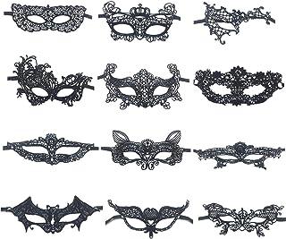 INTVN Mascara de Encaje Negro Mujer Mascaras Venecianas para Halloween Mascarada Carnaval Fiesta de Baile, 12 Piezas