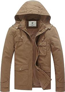 WenVen Men's Military Coat Lightweight Cotton Casual Hooded Windbreaker Jacket