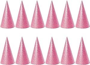 Toyvian Glitter Cone Partyhüte 12PCS Geburtstag Hüte für Partydekorationen (Pink)