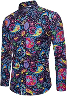Realdo Mens Bohemian Shirt, Business Casual Boho Slim Long Sleeve Fit Print Blouse Top T-Shirt