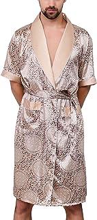 Previn Men's Satin Dressing Gown Silk Kimono Robes Short Sleeve Housecoat Nightwear with Belt