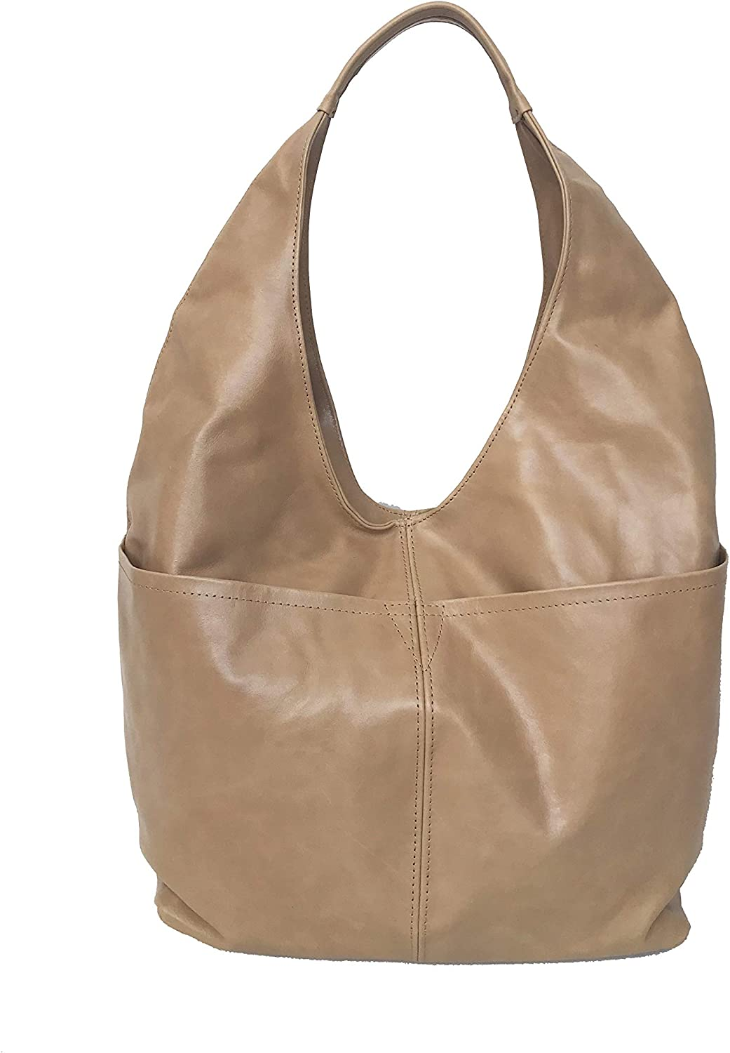 Fgalaze Large Distressed Camel Leather Hobo Bag w Pockets, Large Everyday Purse, Alexis