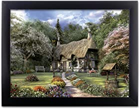 BANBERRY DESIGNS Garden Scene Picture - Country Cottage in a Forest with a Pathway - Black Framed Artwork - 3D Holographic Wall Art